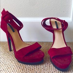 Forever 21 Red Platform Faux Suede Heeled Sandals